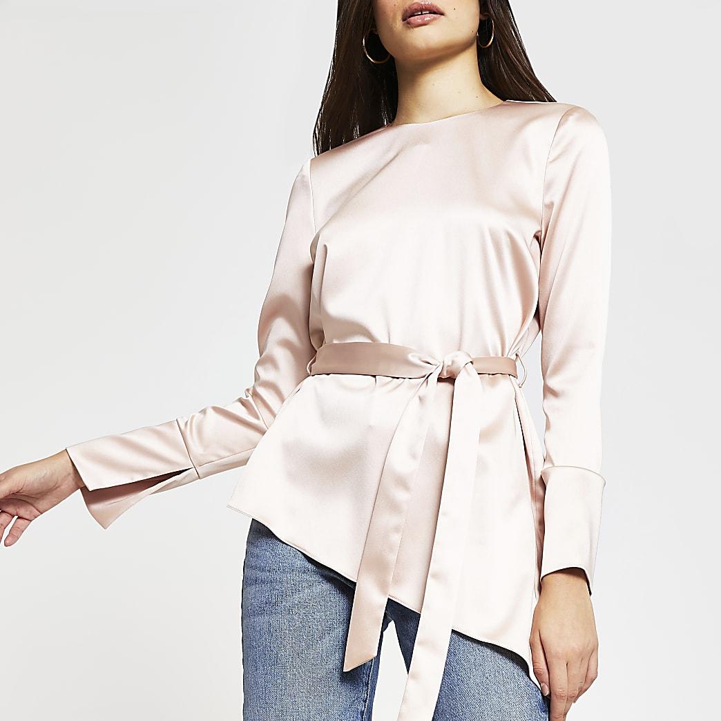 Pink long sleeve asymmetric hem top
