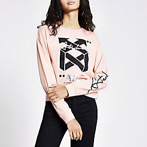 Pink long sleeve 'ATLR' foil print top