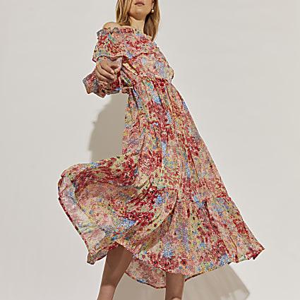 Pink long sleeve bardot floral dress