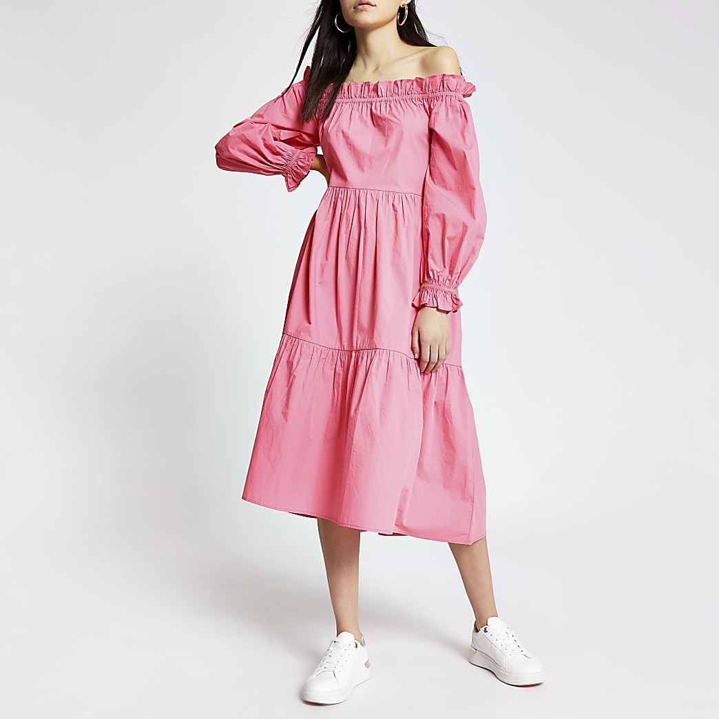 Pink long sleeve bardot midi dress