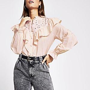 Roze overhemd met lange mouwen, ruches en borduurwerk