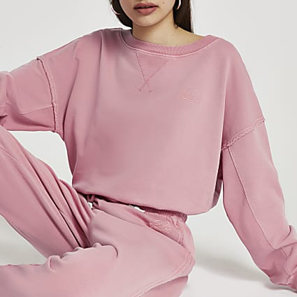 Pink long sleeve crew neck sweatshirt