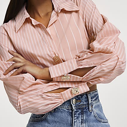 Pink long sleeve elasticated waist shirt