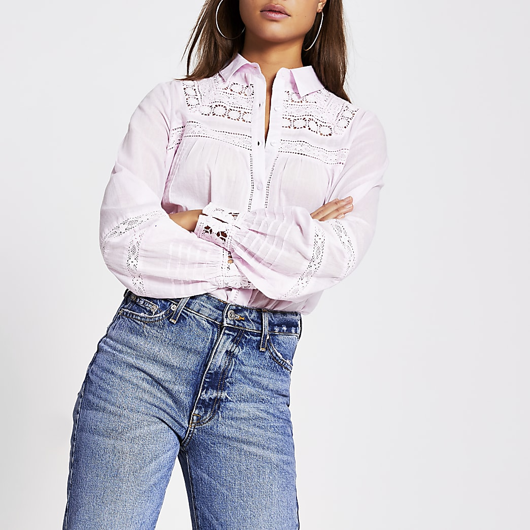 Pink long sleeve embroidered shirt