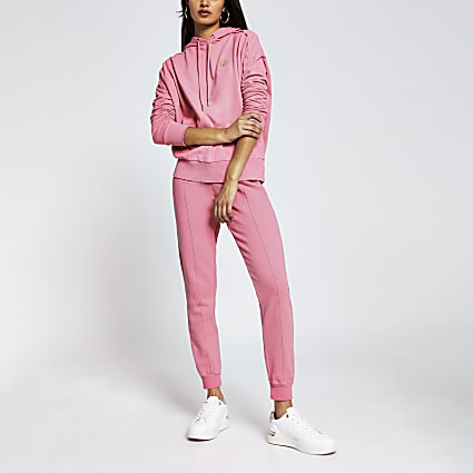 Pink long sleeve exposed seam hoodie