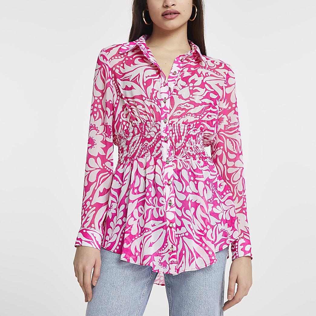 Pink long sleeve floral shirred waist shirt
