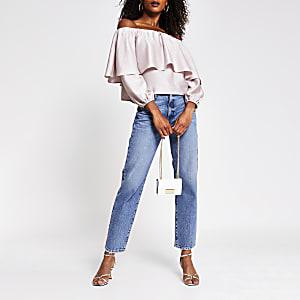 Pink long sleeve frill bardot top