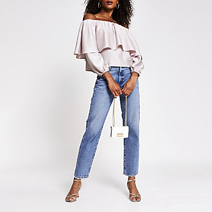 Pink long sleeve frill bardot top