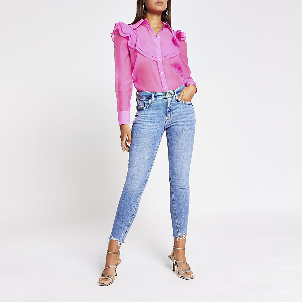Pink long sleeve frill front shirt