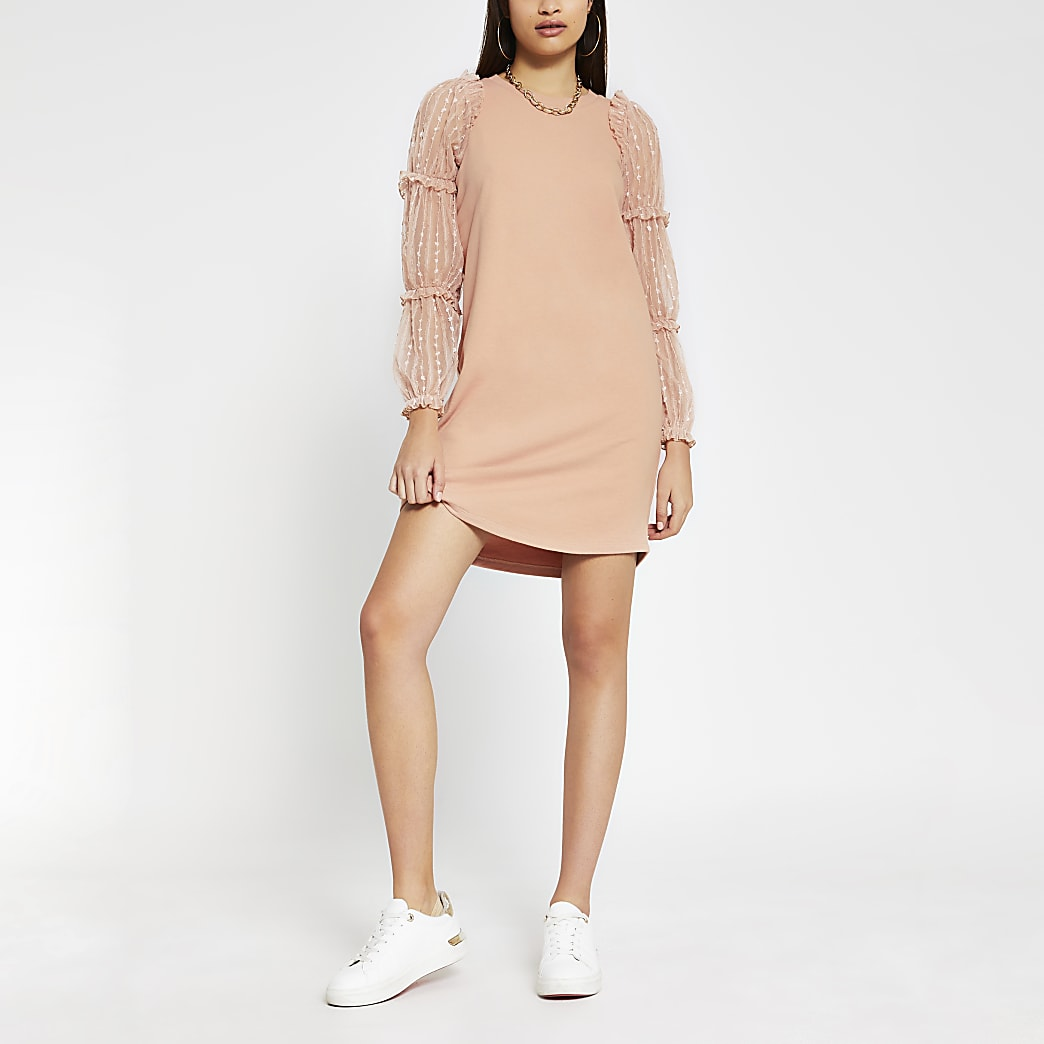 Pink long sleeve frill mesh jumper dress