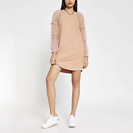 Pink long sleeve frill mesh sweat dress