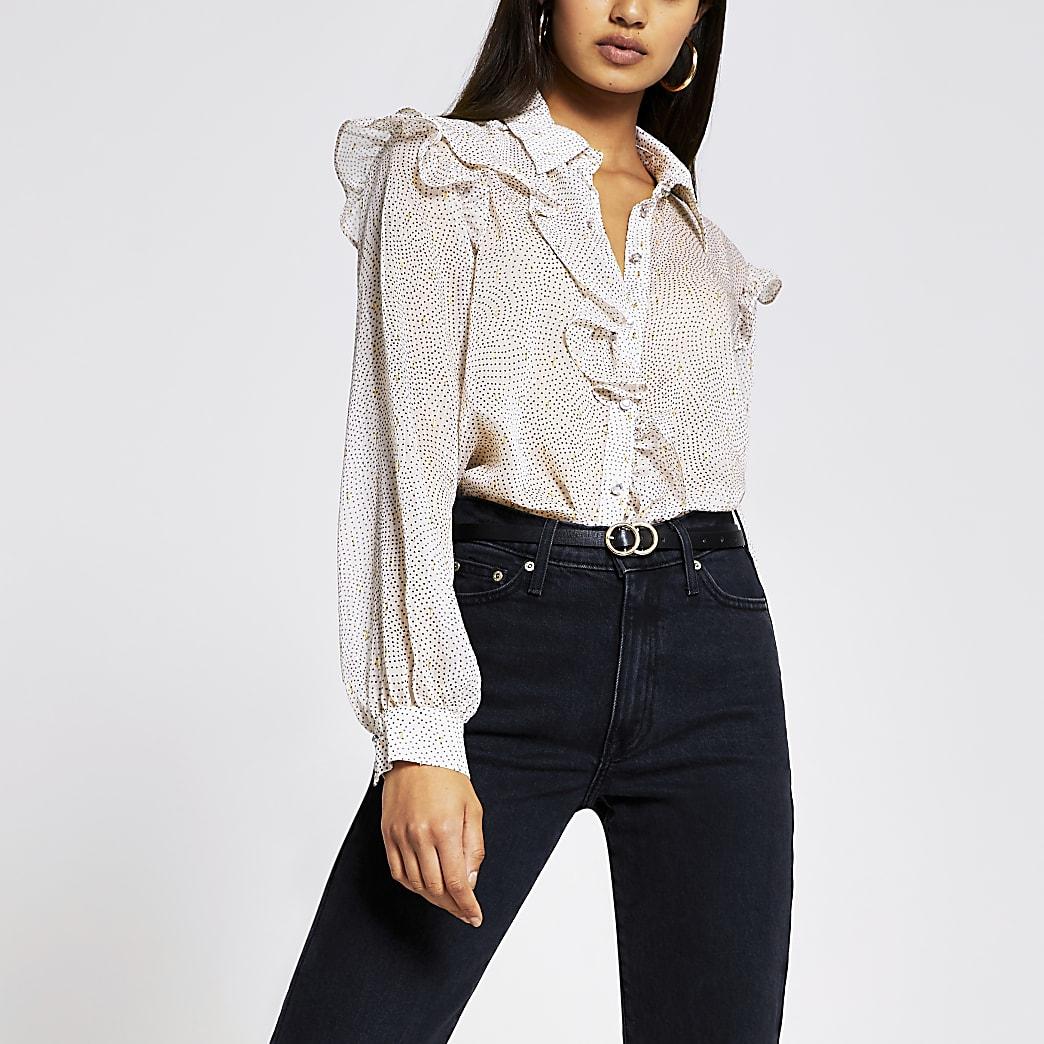 Pink long sleeve frill shirt