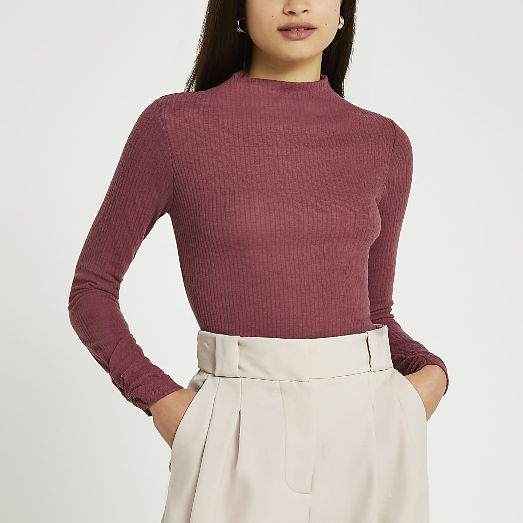 Pink long sleeve high neck ribbed top
