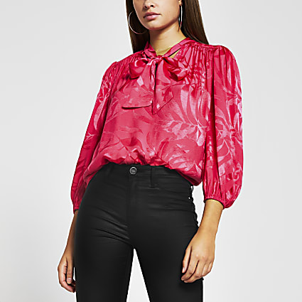 Pink long sleeve jacquard bow blouse top