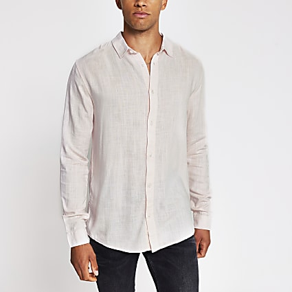 Pink long sleeve linen regular fit shirt
