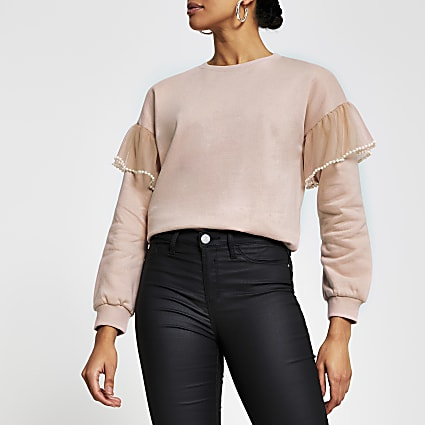 Pink long sleeve mesh detail sweatshirt