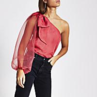 Pink long sleeve one shoulder organza top