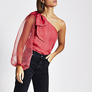 Pink long sleeve one shoulder organza top