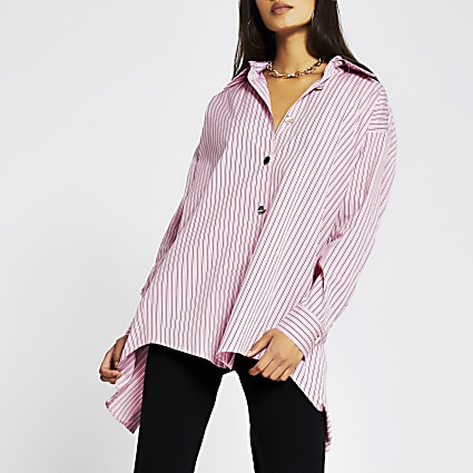 Pink long sleeve oversized stripe shirt