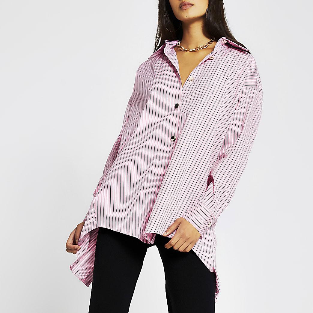 Pink long sleeve oversized stripe shirt