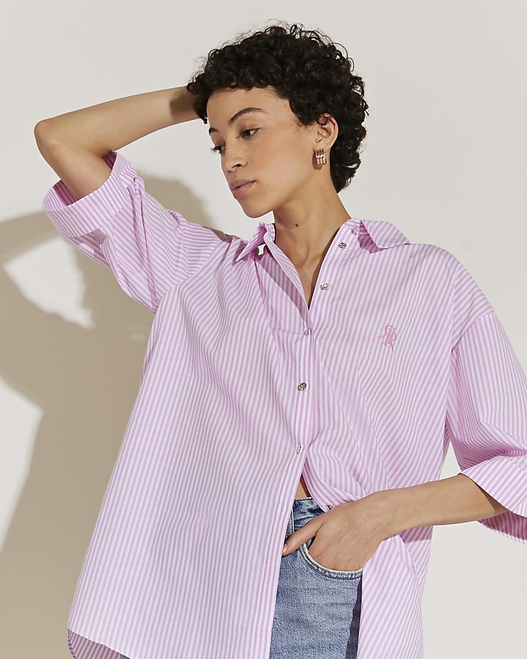 Pink long sleeve oversized striped shirt