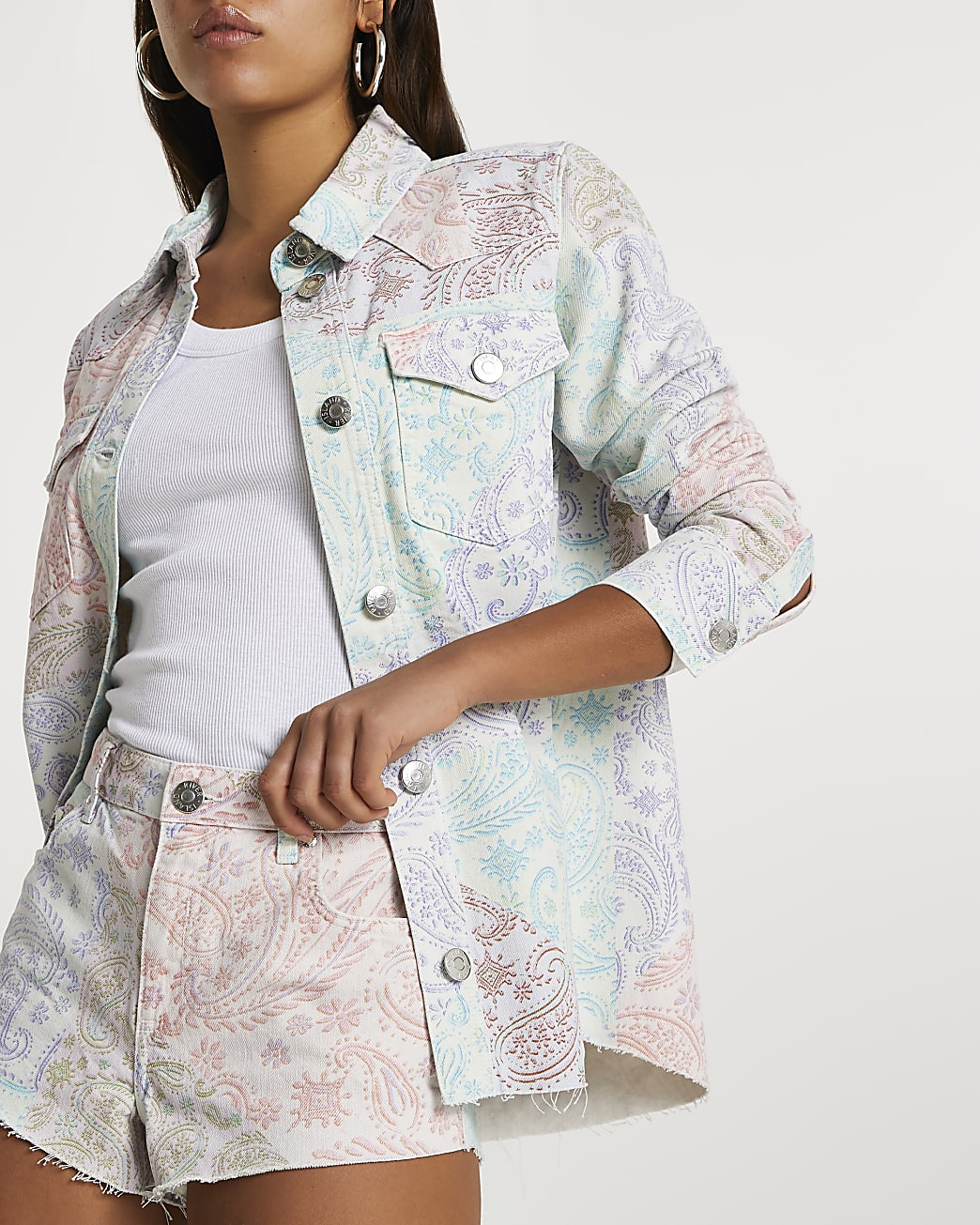 Pink long sleeve paisley print denim shirt
