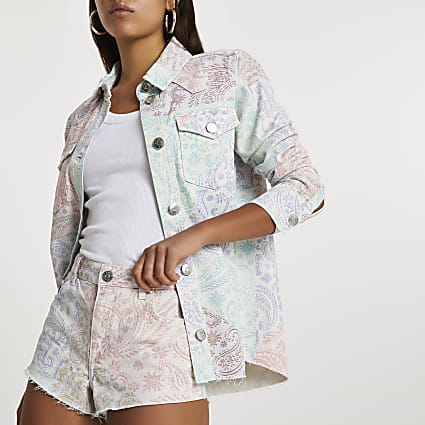 Pink long sleeve paisley print denim shirt