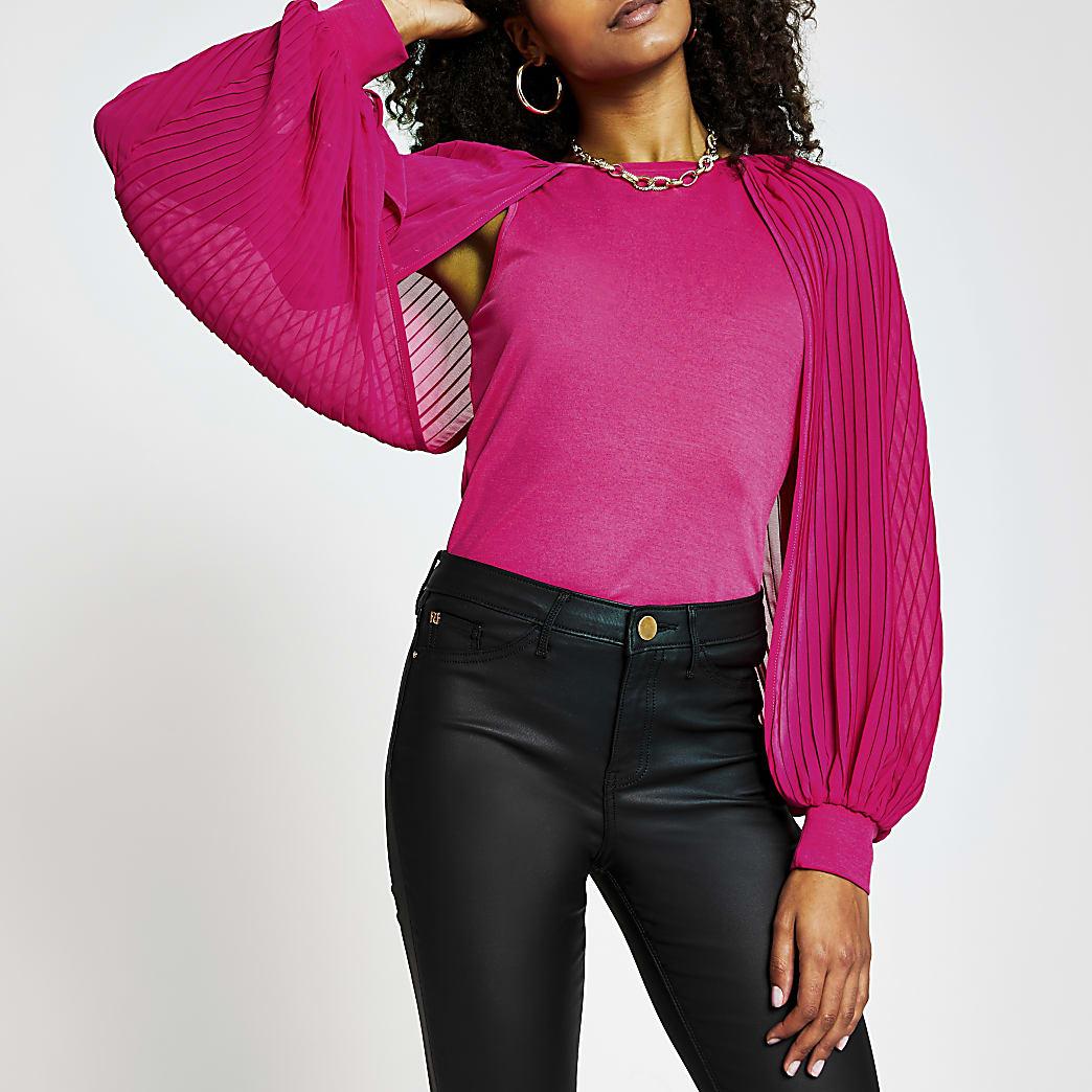 Pink long sleeve pleat blouson sleeve top