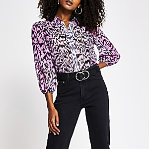 Pink long sleeve print shirt