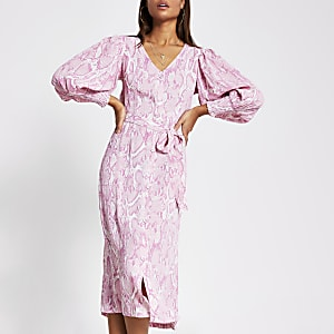 Pink long sleeve printed midi dress