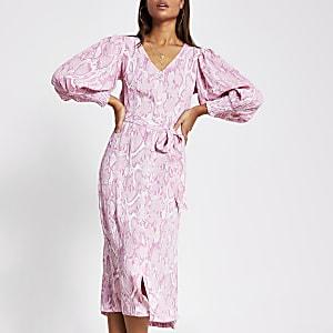 Robe mi-longue imprimée à manches longues rose