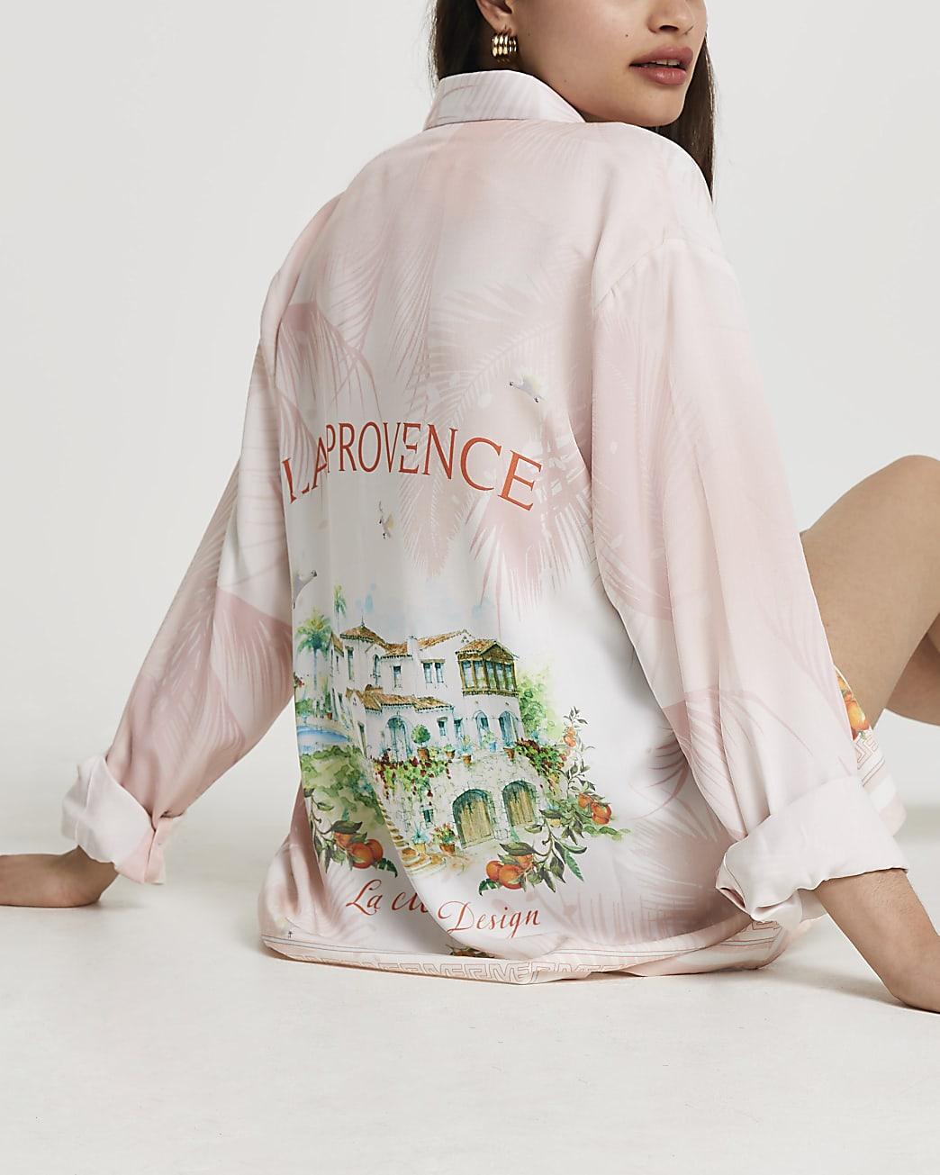 Pink long sleeve 'Provence' shirt