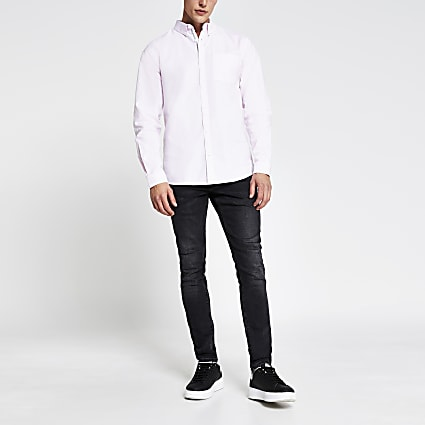 Pink long sleeve regular fit oxford shirt