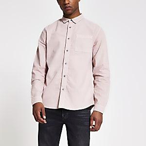 Roze regular fit overhemd met lange mouwen