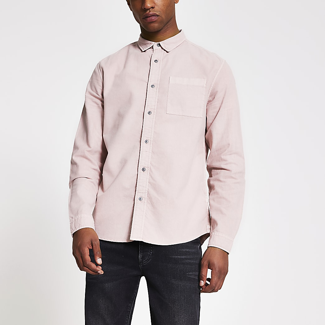 Pink long sleeve regular fit shirt