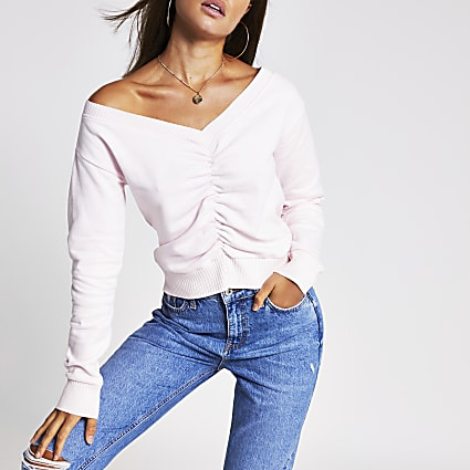 Pink long sleeve ruched front bardot sweat