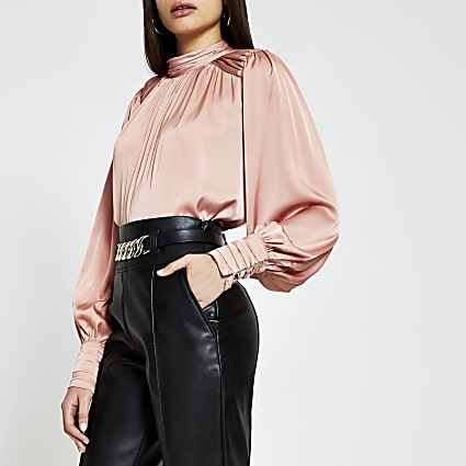 Pink long sleeve ruched shoulder blouse top