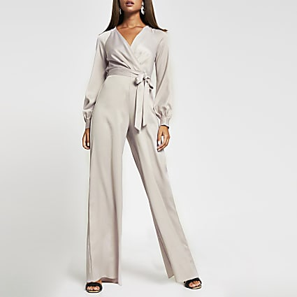 Pink long sleeve satin wrap jumpsuit