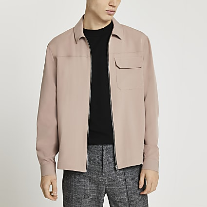 Pink long sleeve shacket