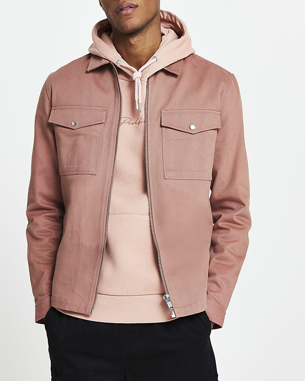 Pink long sleeve shacket