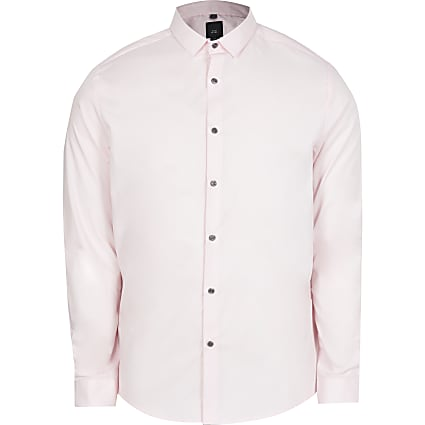 Pink long sleeve slim fit shirt