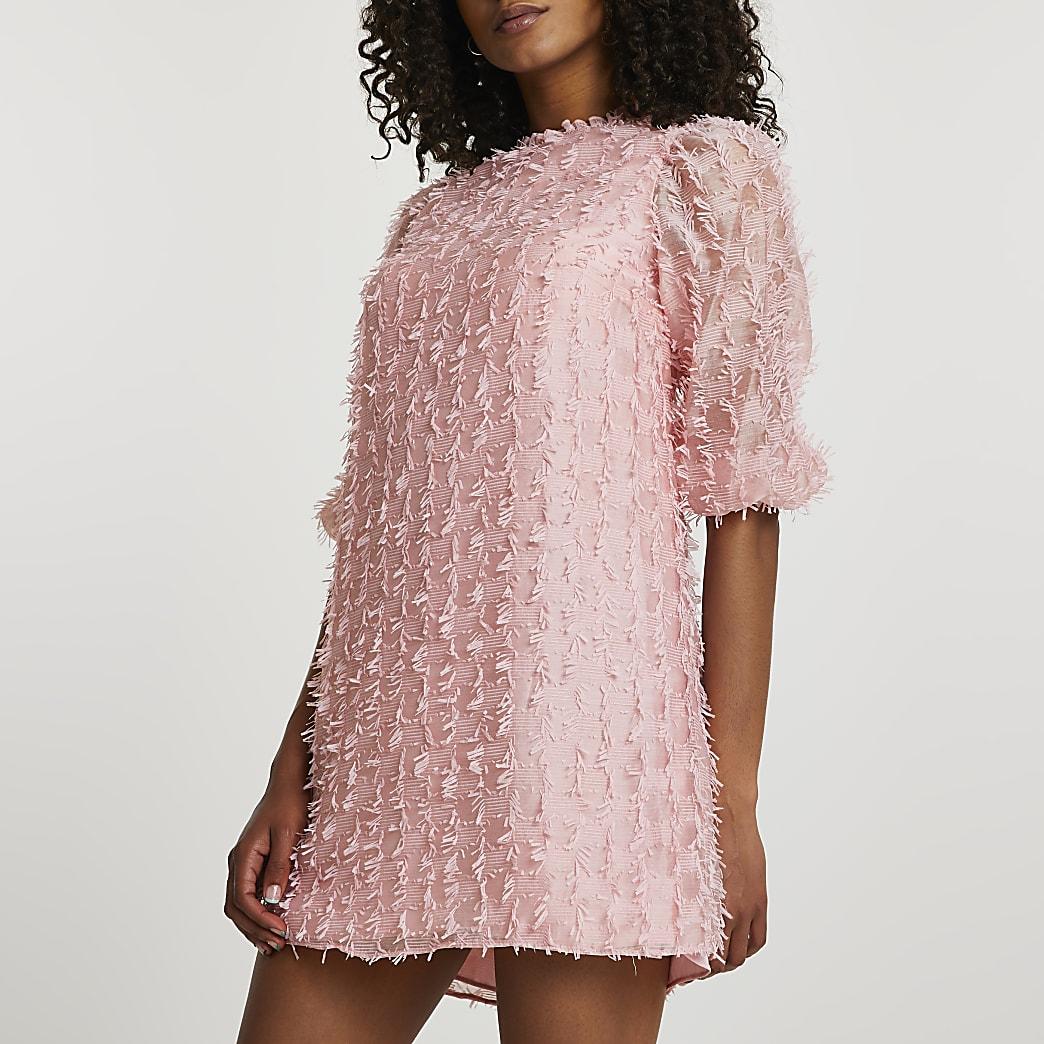 Pink long sleeve textured shift dress