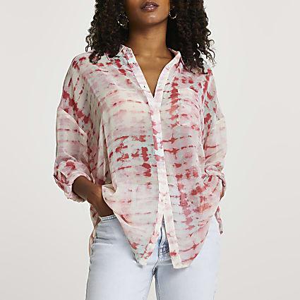 Pink long sleeve tie dye shirt