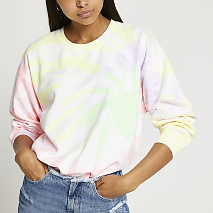 Pink long sleeve tie dye sweatshirt