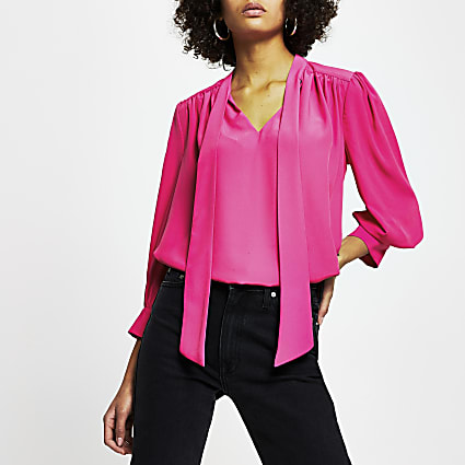 Pink long sleeve tie neck blouse top