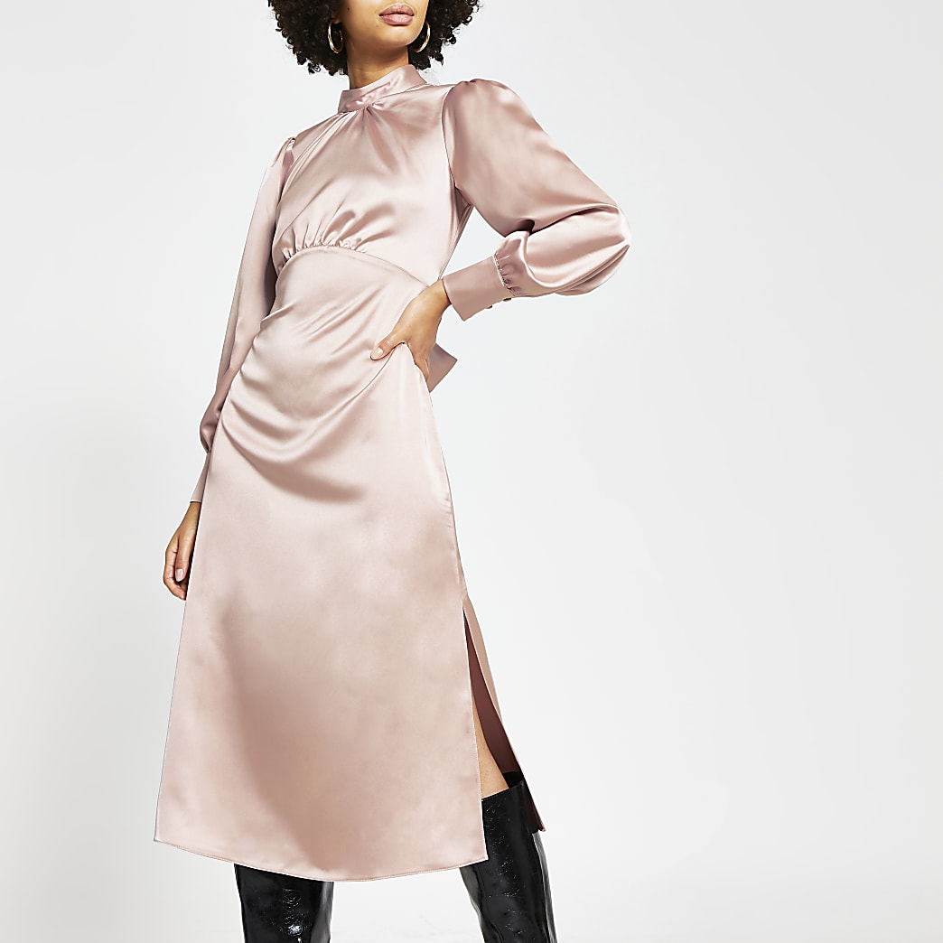 Pink long sleeve tie waist midi dress