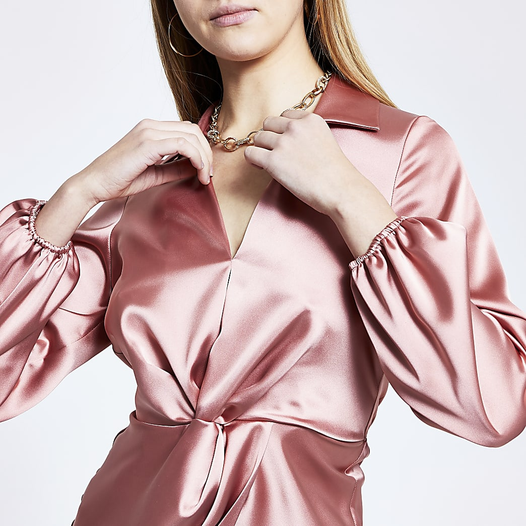 Pink long sleeve twist front shirt