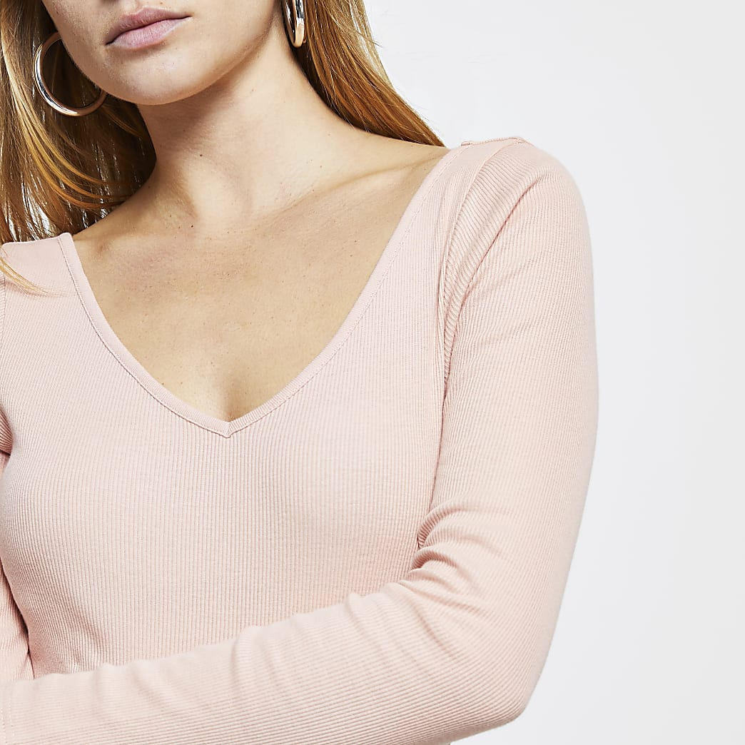 Pink long sleeve v neck top