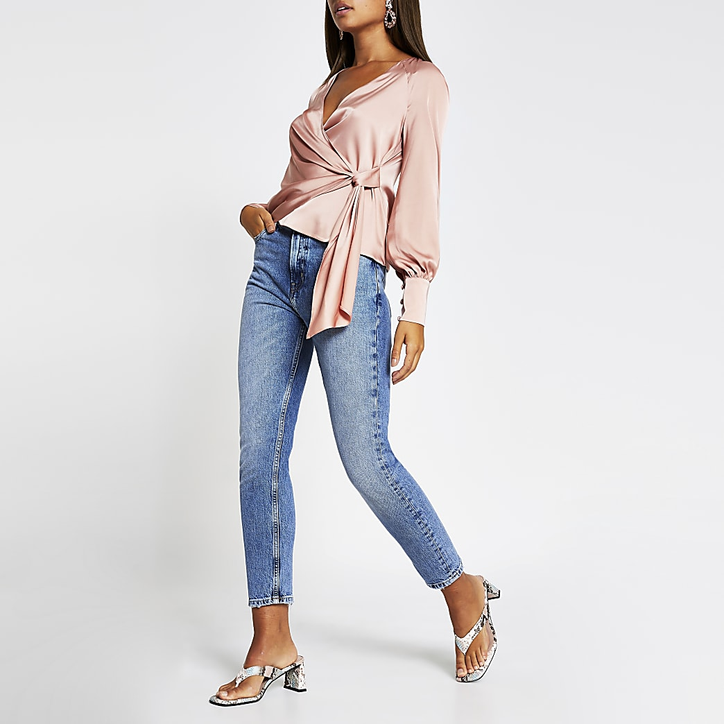 Pink long sleeve wrap front tie blouse