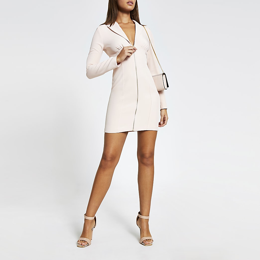 Roze blazer mini-jurk met rits voor en lange mouwen